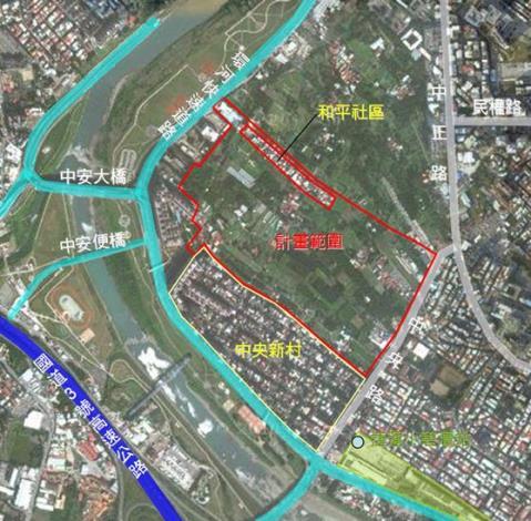 圖1-新店中央新村北側區段徵收開發案開發範圍_圖示