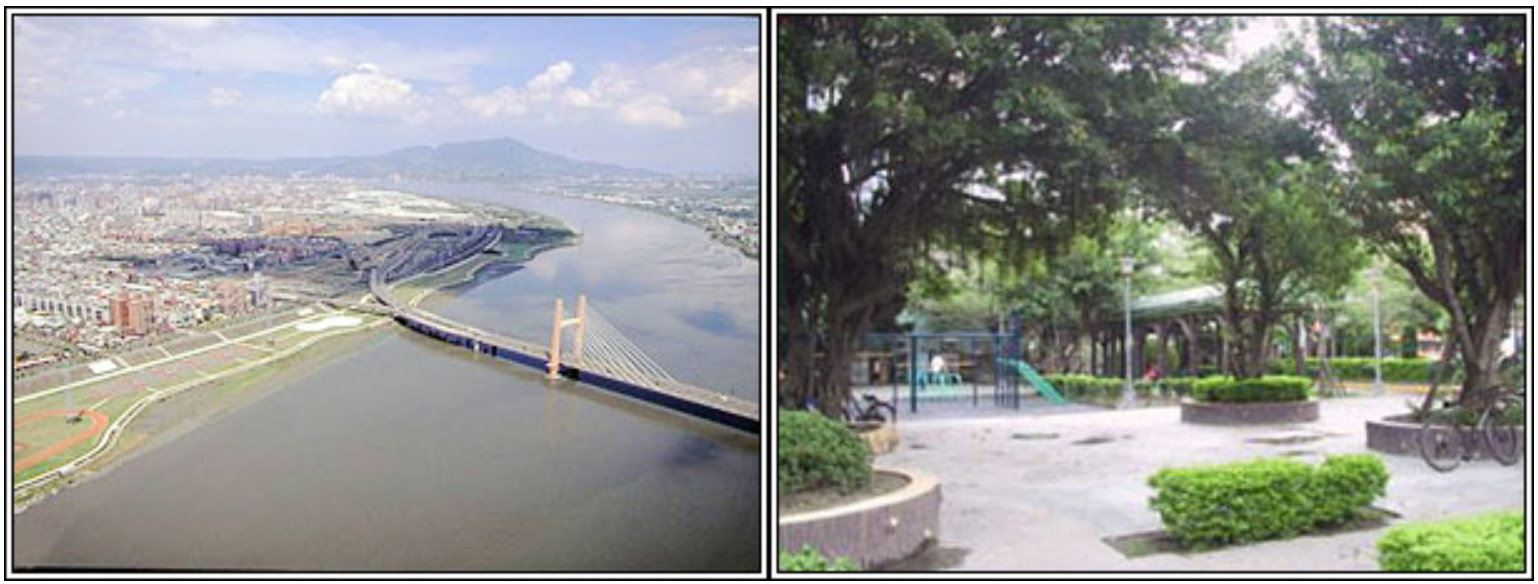 Aerial photos of the the  Chongyang Bridge rezoning area  and the Nicaragua Park in Sanchong Dist., New Taipei City.