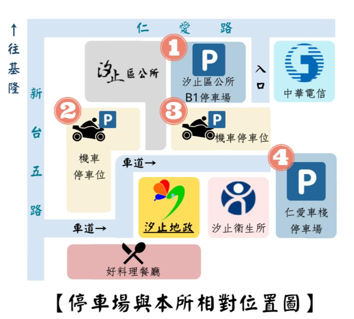 停車場與本所相對位置圖圖示,詳細內容為至上方說明。