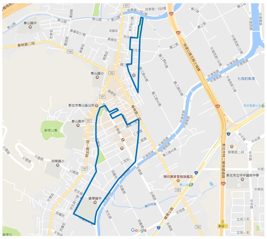 泰山東側市地重劃區範圍圖
