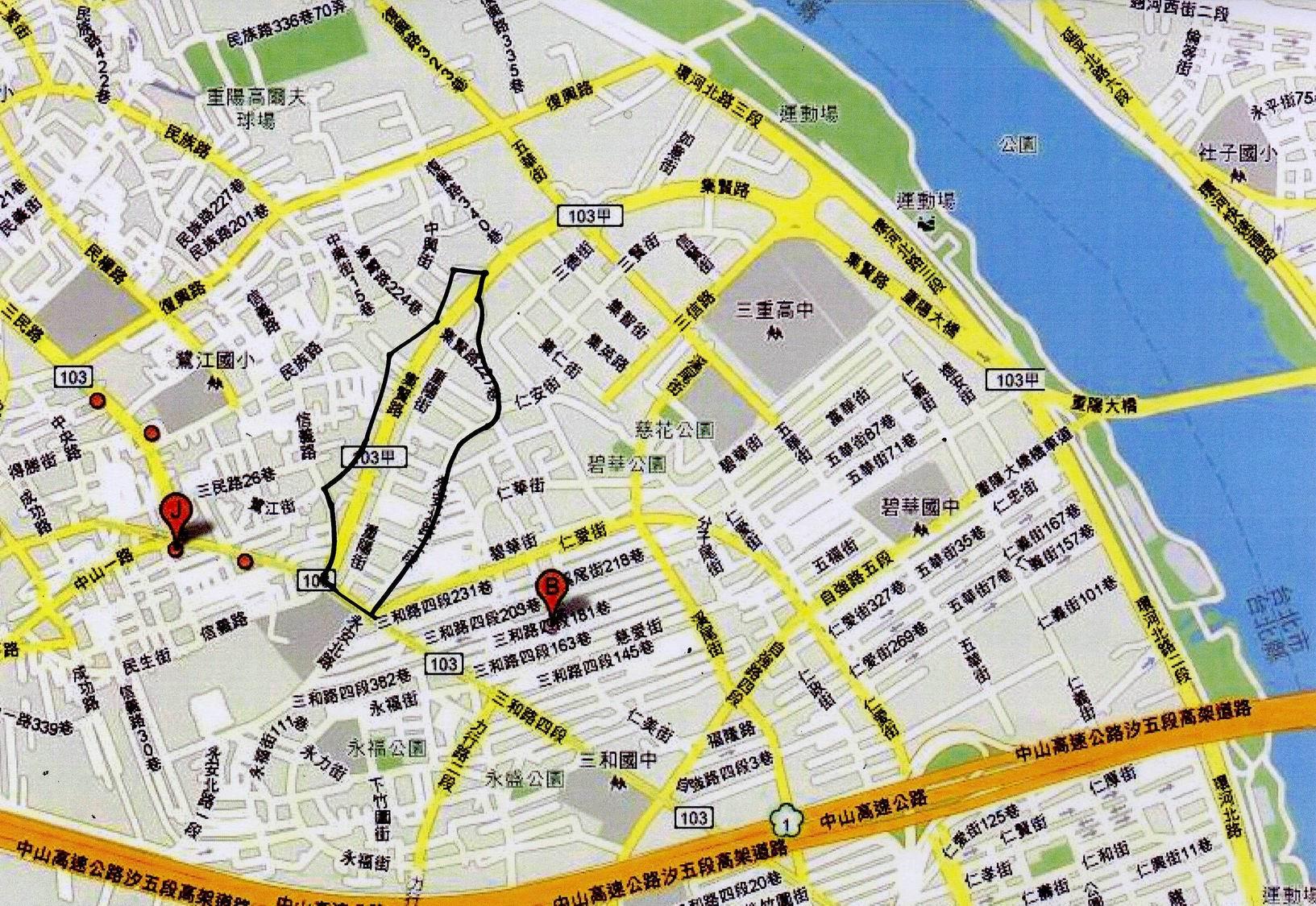 蘆洲重陽市地重劃區範圍圖